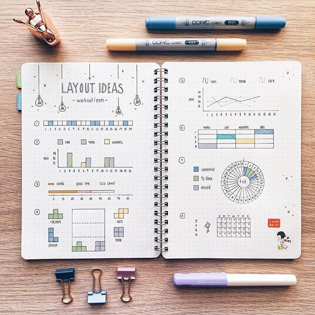 Layout ideas for workout or gym trackers!  I decided to start carrying a mini journal with me everywhere now cause I always get random epiphanies during the day and by the time I get home, I have forgotten all of them  ≪QOTD: Which layout do you like the best?≫