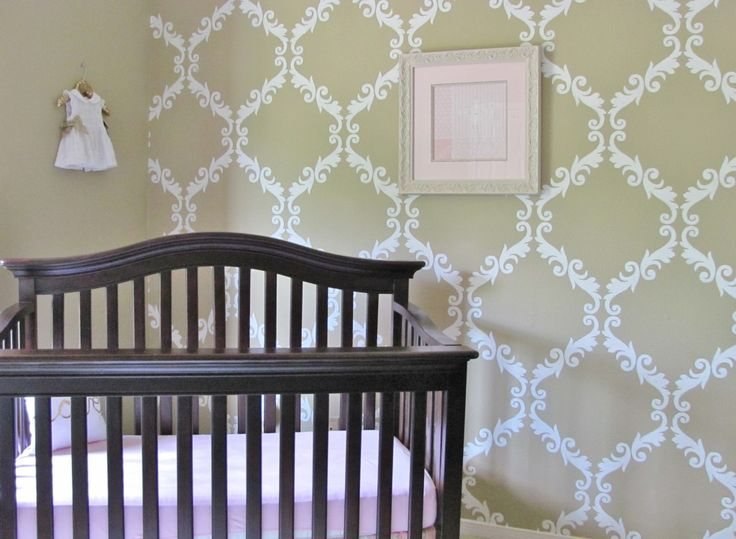 This damask-stenciled wall makes such an impact and totally works for a gender neutral room!:  Cots, Wall Stencil, Elegant Charmer, Baby Girls, Baby Rooms, Cribs, Girls Nurseries, Design Studios, Nurseries Ideas