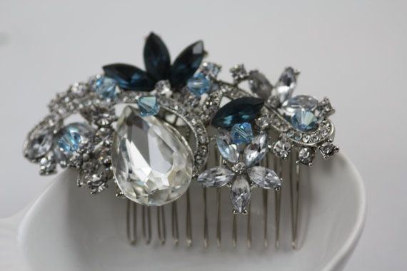 Something Blue $54: Swarovski Bridal, Wedding Hair Combs, Crystals Brooches, Bridal Combs, Wedding Hairs, Swarovski Crystals, Blue Weddings, Hair Sliding, Bridal Hair Combs