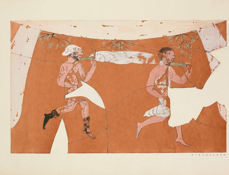 Agora Image: Oinochoe with scene from the Athenian comedy. Water color by Piet de Jong.