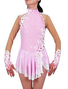 Vestido+de+patinaje+artístico+Mujer+Chica+Patinaje+Sobre+Hielo+Vestidos+Rosa+Válida+Licra+Pedrería+Apliques+Alta+elasticidad+Rendimiento+–+EUR+€+200.38