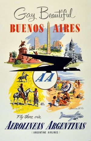 Argentine Airlines Argentina Travel Poster, 1950.