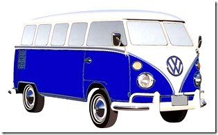 Full color applicatie Hippie bus (donkerblauw)