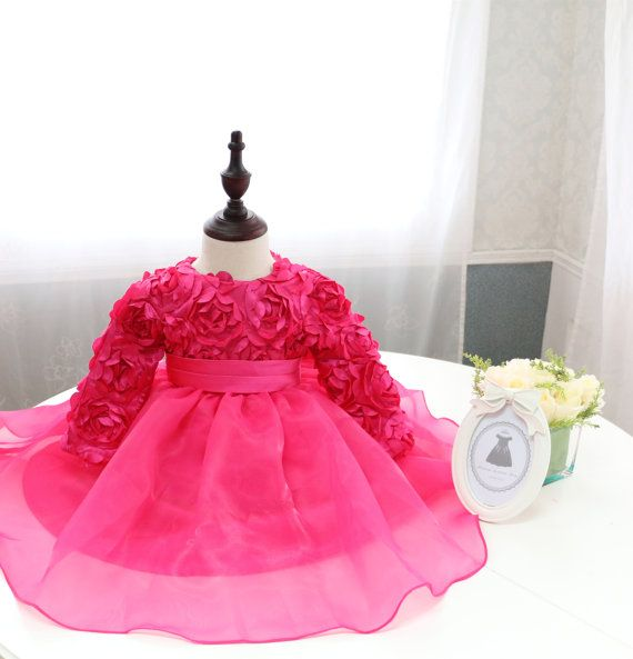 Hot Pink Toddler Pageant Dress with Long Sleeves Mother
