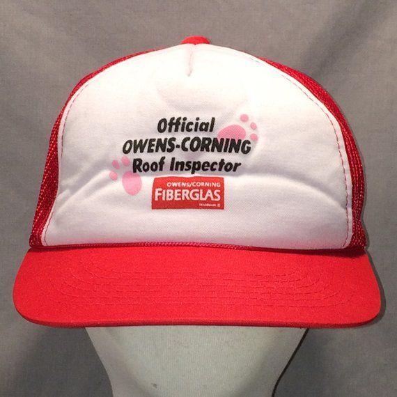 4debdea31dc90 Owens Corning White Foam Red Mesh Back Snapback Trucker Hat Caps T7 JN8076
