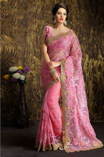 #Pink #Net Saree With Blouse