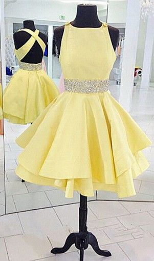 2016 homecoming dress, party dress, yellow homecoming dress, cross back homecoming dress