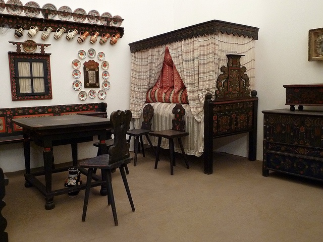 Traditional Hungarian interior    you may be very impressed by the displays in the ethnological museum. This is shows house furnishings from the Sárköz region, which lies in the south of Hungary.