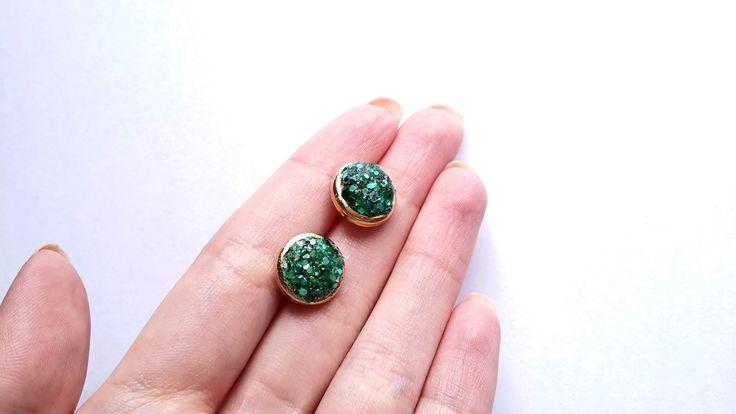 How to make faux druzy stud earrings | Πως να φτιάξεις σκουλαρίκια druzy