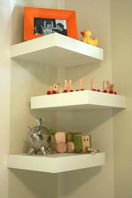 Corner wall shelves  Alternate wall, giving the arrangement of shelves visual interest