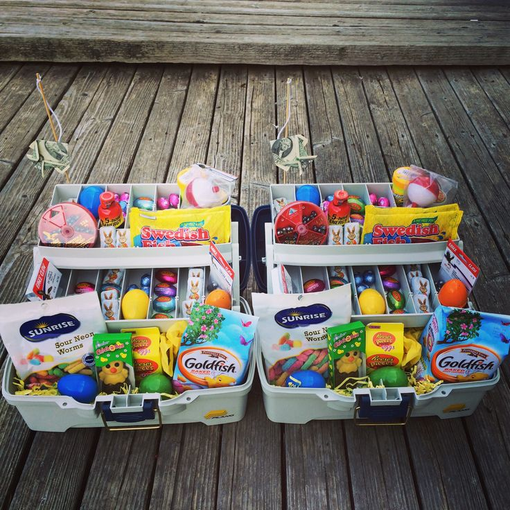 Boy Easter basket idea!  Made these tackle boxes/baskets for my 14 and 11 year old sons.  Has gummy worms, goldfish crackers, and Swedish fish!  Added some Easter candy and plastic eggs in all the compartments, plus a few $2 bills!  Threw in some actual bait/supplies too!  Easter 2015