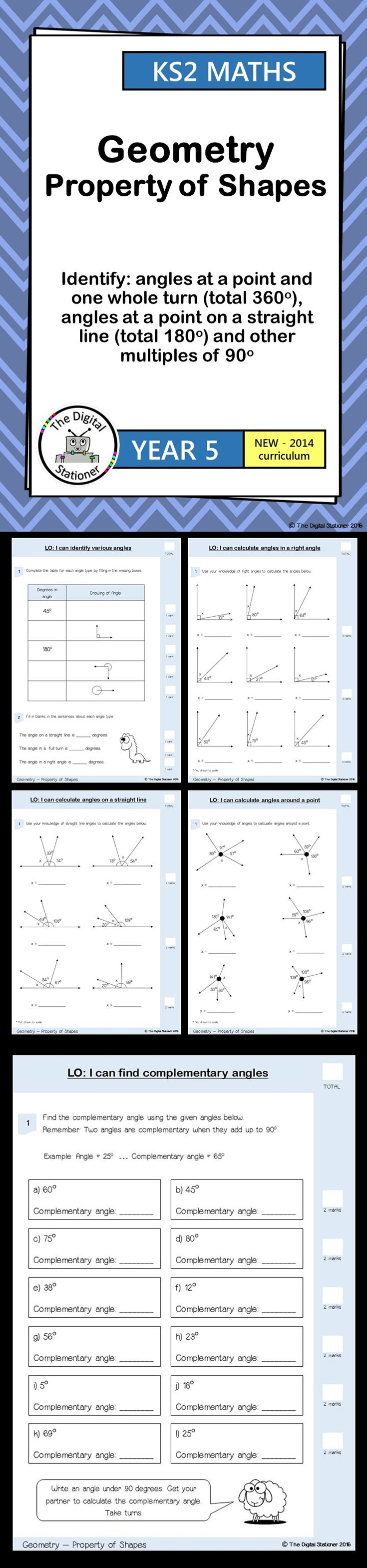 Year 5 - Identify angles in full turn, straight line & other 90 degrees - Geometry - Properyy of shape  (inc. mastery). 8 PDF printables. These include worksheets, mastery, extension and resource cards all designed for the 2014 curriculum.