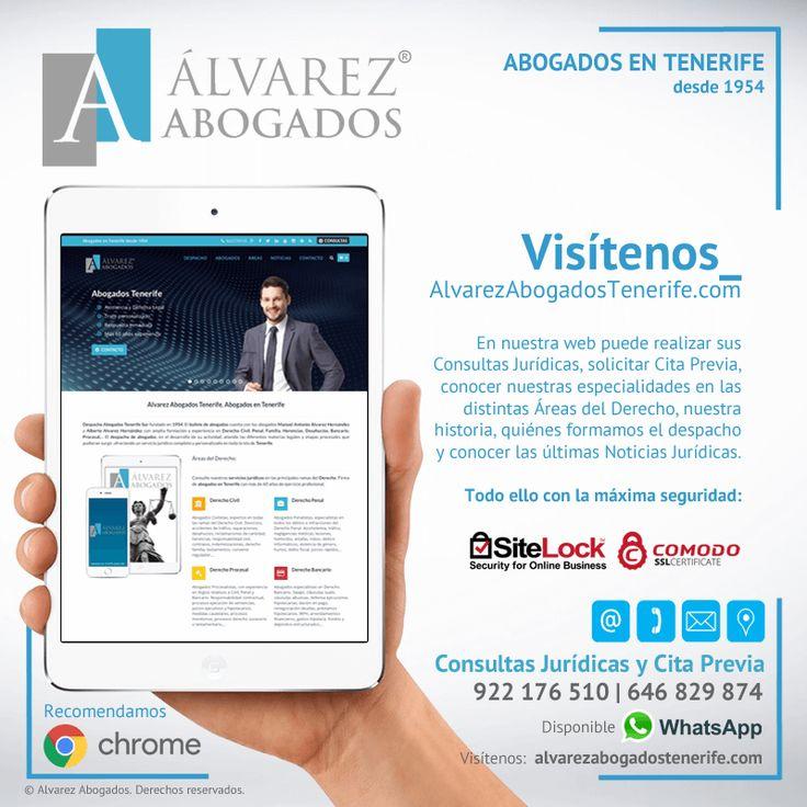 Visítenos https://alvarezabogadostenerife.com. En nuestra web tiene disponible: Consultas Jurídicas, solicitud Cita Previa, nuestras Especialidades en las distintas Áreas del Derecho, Historia, Valores, Ventajas, nuestro Equipo, Noticias Jurídicas y mucho más. Además con la máxima seguridad de Internet.   #Derecho #Abogados #AlvarezAbogados #Tenerife #SomosAbogados #TenerifeSur #Abogado #Firma #DespachoAbogados
