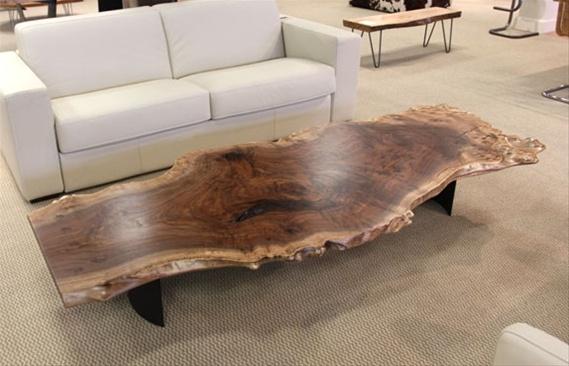 Urban Hardwoods Furniture - Seattle, walnut slab coffee table. Think smaller scale end tables. Fun #UrbanHardwoods #SalvagedWood