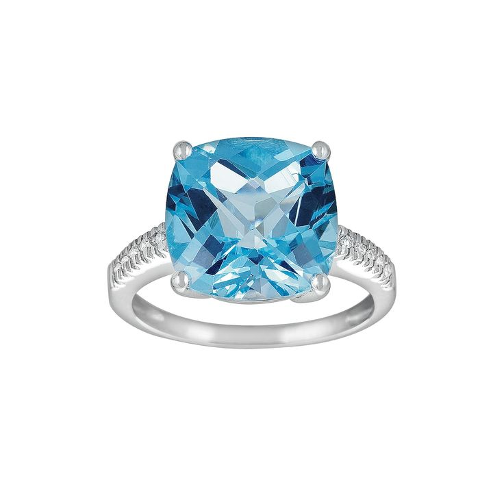 14k White Gold Blue Topaz and Diamond Accent Ring, Women's, Size: 7