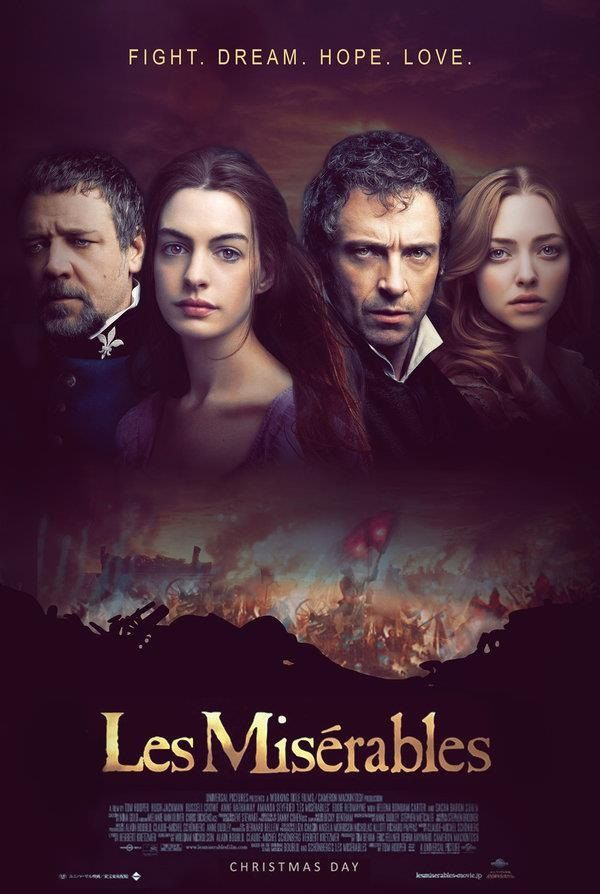 Les Misérables (2012) | directed by Tom Hooper | starring Hugh Jackman, Russell Crowe, Anne Hathaway, Amanda Seyfried, Eddie Redmayne, Samantha Barks, Helena Bonham Carter, and Sacha Baron Cohen. This movie long as hell.