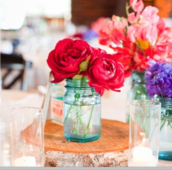mason jars + flowers