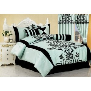 Chezmoi Collection 7 Pieces Aqua with Blue and Black Floral Flocking Comforter Set Bed-in-a-bag Full or Double Size Bedding