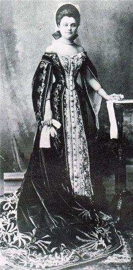 Russian Court dress. Lady-in-Waiting Olga Naryshkina in her Ceremonial Court dress. 1900.
