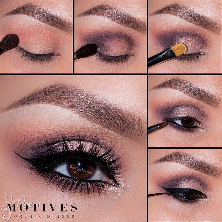 "Motives by Loren Ridinger - Look by Ely Marino. 1. Apply ""Birch"" (Mavens palette) onto the brow bone. Taking ""Babydoll"" blush blend slight above the crease 2. Take ""Vino"" and blend in the outer corner of the eye and sweep into the crease 3. Using ""Allure"" pat on the entire lid keeping the color underneath the crease 4. Taking Eye Khol in Black and apply to the water line Take ""Vino"" and smudge underneath the lower lash line 5. Taking ""LBD"" apply a winged liner"