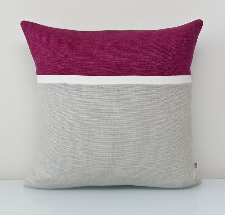 Purple Pillow 100% cotton Accent Pillow. An ALL NATURAL Colorblock pillow using environmentally friendly fabrics. The bright white trim on grey base makes the deep plum colour pop. FREE customization available