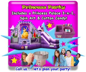 Complete Princess Party..Rent this inflatable Princess Combo with a jump, climb & slide, a spin art machine & cotton candy too. Available from ASTRO JUMP - ATLANTA