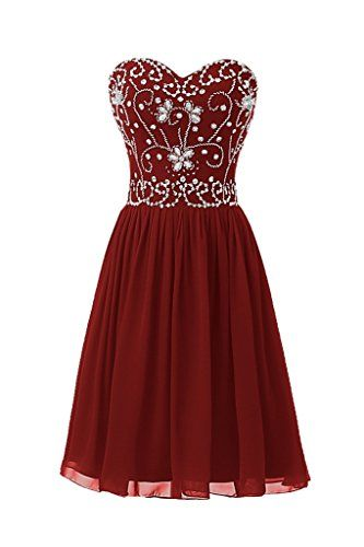 Ellames Short Beading Prom Homecoming Party Dresses for Juniors Burgundy US 4