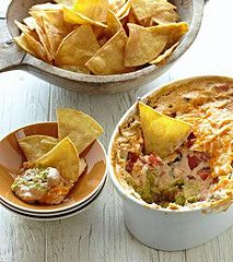 Cheesy guacamole bean dip.