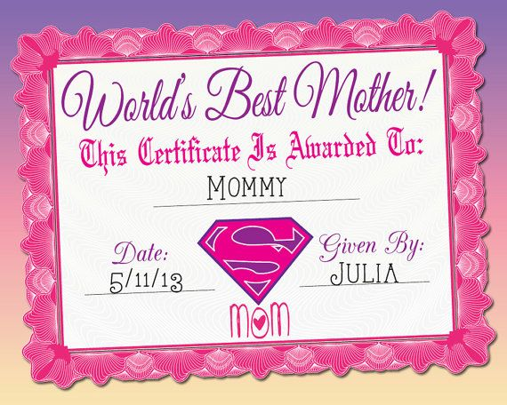 World's Best Mother Certificate, Printable | World ...