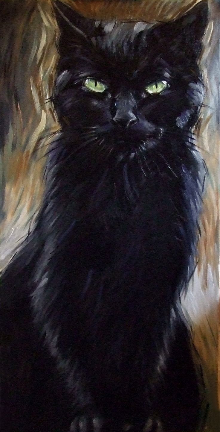 BIG black cat painting.  24 x 48 inches, original oil painting on canvas by Diane Irvine Armitage.