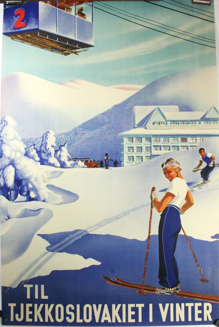 Original Deco travel ski poster, Czechoslovakia