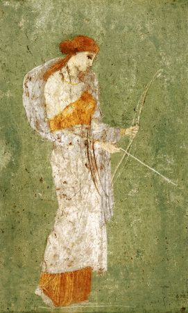 Diana depicted on a mural in the ancient city of Pompeii