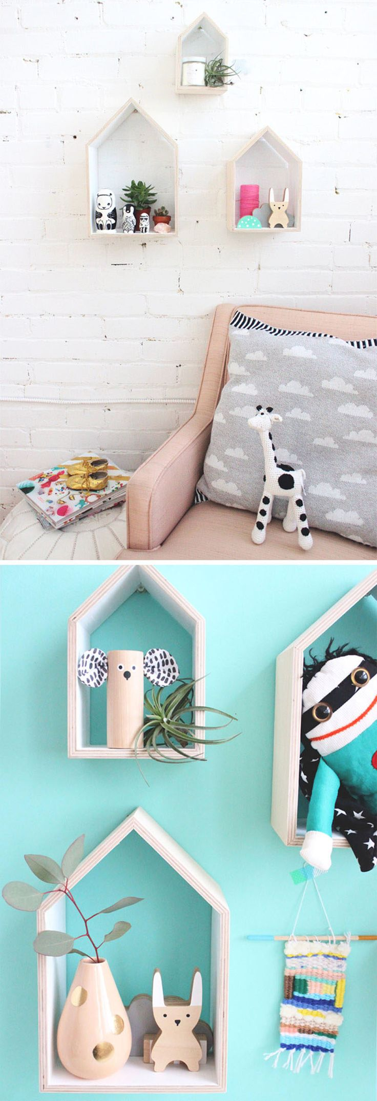 House-shaped wall shelves are a cute bedroom decorating idea for little girls or tweens.