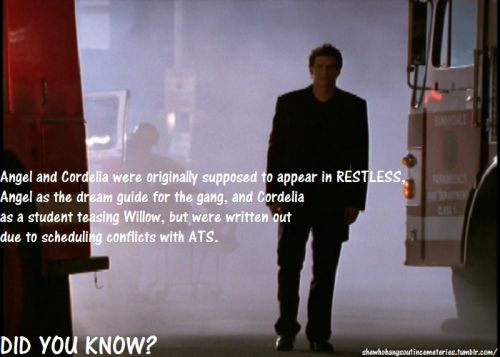 "BuffyFacts 180/209 | Restless, Season Four ""Angel and Cordelia were originally supposed to appear in RESTLESS, Angel as the dream guide for the gang, and Cordelia as a student teasing Willow, but were written out due to scheduling conflicts with..."