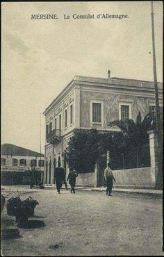 Mersin 1920 ler Atatürk caddesi ve sağda Atatürk evi..