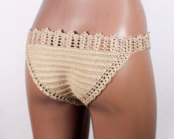 FREE Shipping Crochet Beige Bikini Bottom bikini от LoveKnittings