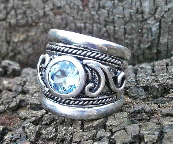 Chunky handcrafted ring with silver scrolls by FiaFourieJewellery, $295.00