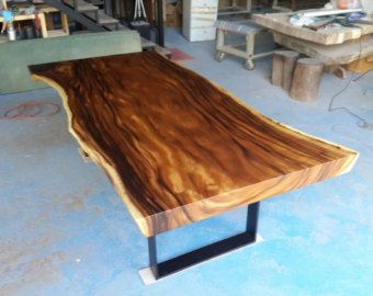 Live Edge Dining Table Reclaimed Solid Slab Acacia Wood With Custom Made  Black Solid Steel Legs