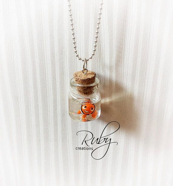 Nemo inspired necklace, mini bottle charm | Bottle charms ...