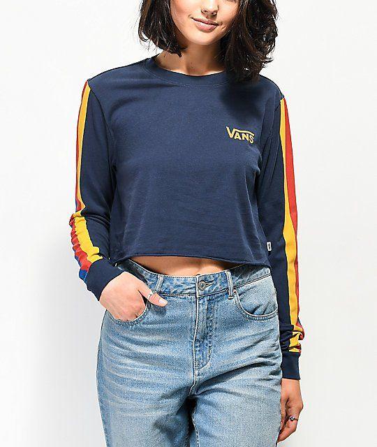 4ea4647ef8 Vans Rainee Navy & Stripe Long Sleeve Crop T-Shirt in 2019 | Back to ...