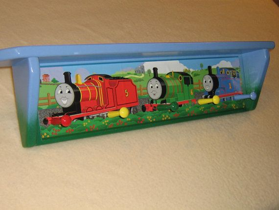 Kid's corner coat rack  Thomas the train with shelf by tomshangups, $32.00