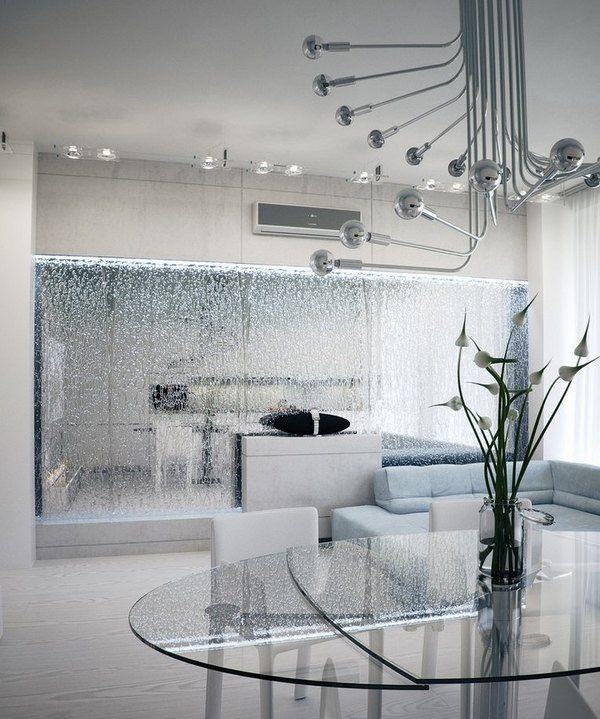 современный дизайн домашнего интерьера гостиная столовая идеи стеклянных перегородок