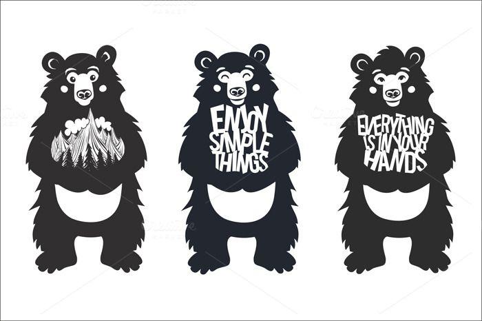 Super cute typography bears set by julymilks on @creativemarket