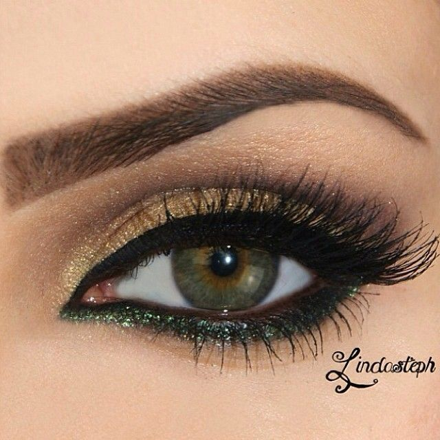 Brown and forest green eye make-up