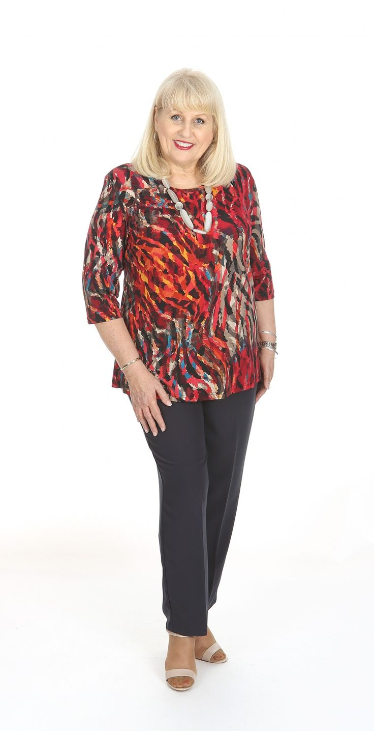 Stylish round neck top in multi colours: Our ever popular round neck style top in a multi coloured print.  Our round neck top are a gentle a-line which is flattering to all figure types. Fabric: Polyester Spandex Label: Lagos