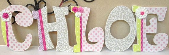 Wooden Letters for Nursery, Wall Hanging Letters-Baby Name- Girl Room Nursery Decor -Painted and decoupage- The Rugged Pearl on Etsy, $19.00