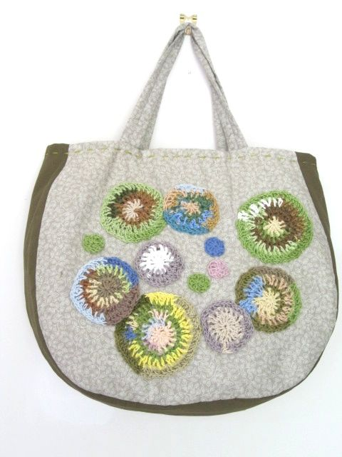 SWEET SUCCULENT BAG Lined, cotton bag embellished with cotton thread motifs. See my store at www.madeit.com.au/HookandBobbin