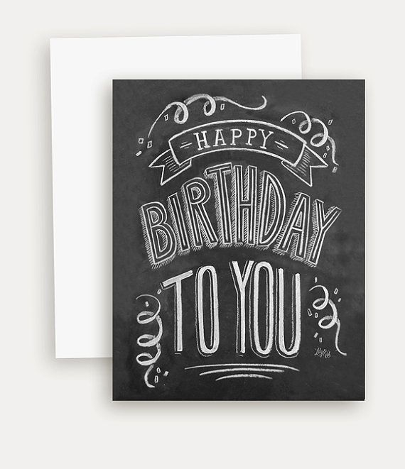 Geburtstagskarte - Tafel Karte - einzigartige Geburtstagskarte - kreideküste Kunst - Hand Schriftzug