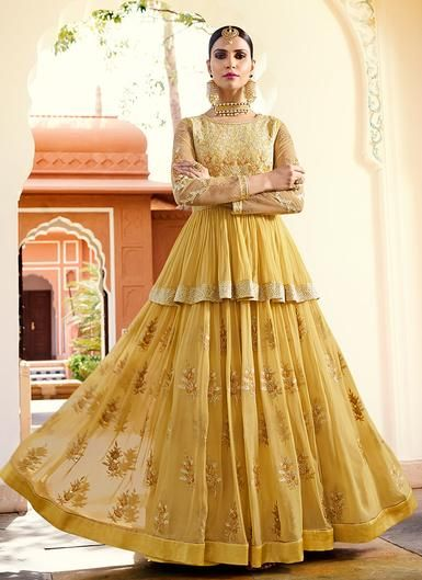 3fe880835f Light Yellow Embroidered Royal Georgette Anarkali – Lashkaraa