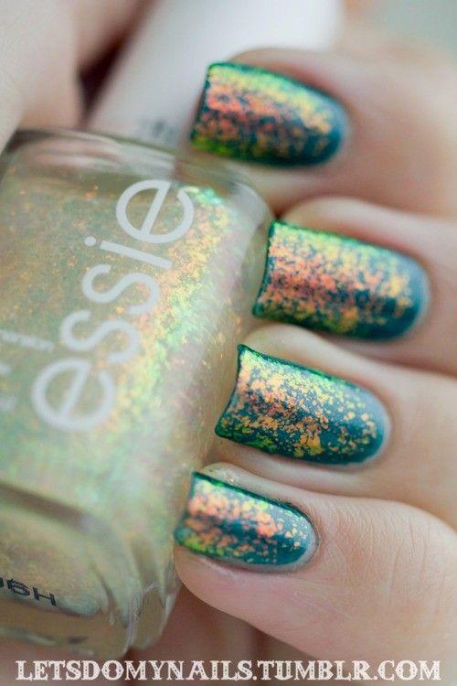 Nail paints / Teal Glitter Nails